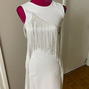 Laundry white fringe dress 0